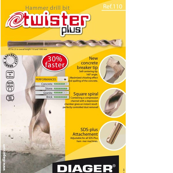 DIAGER Twister plus PROFI SDSplus svrdlo za beton 10x310mm