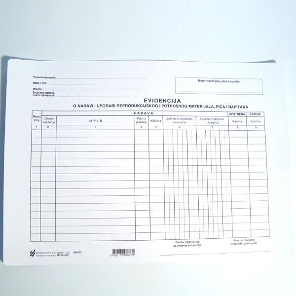 Evidencija o nabavi i uporabi reprodukcijskog i potrošnog materijala, pića i napitaka