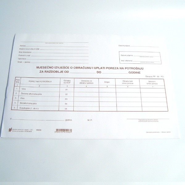 Mjesečno izvješće o obračunu i uplati poreza na potrošnju
