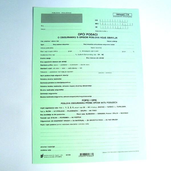 Opći podaci o osiguraniku s opisom poslova koje obavlja - obrazac: 2 IN