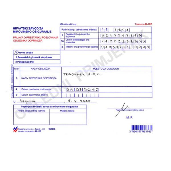 Tiskanica M-12P prijava o prestanku posl. obveznika doprinosa -kop