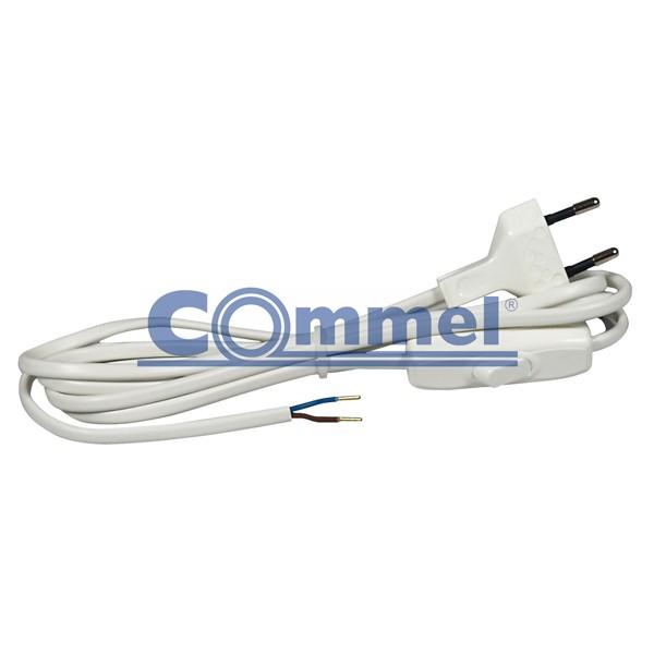 Priključni kabel za rasvjetna tijela sa sklopkom 2,5A 2m bijeli