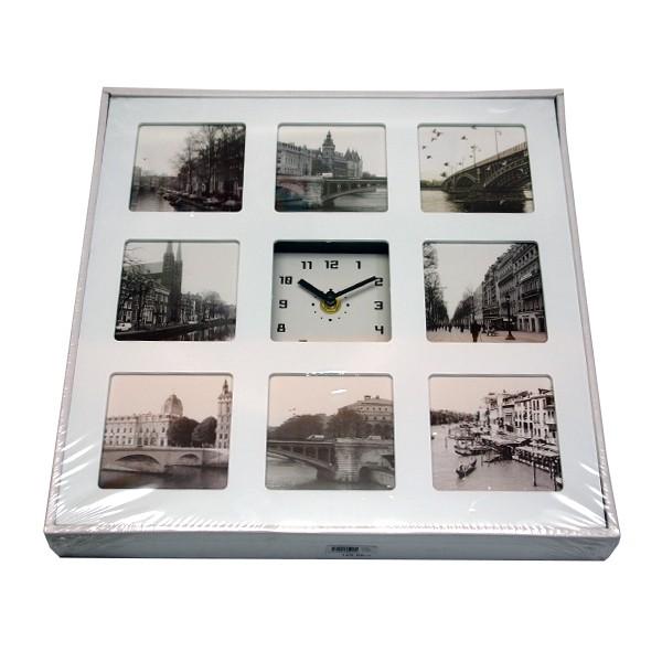 Zidni sat 32x32cm s okvirom za 8 slika