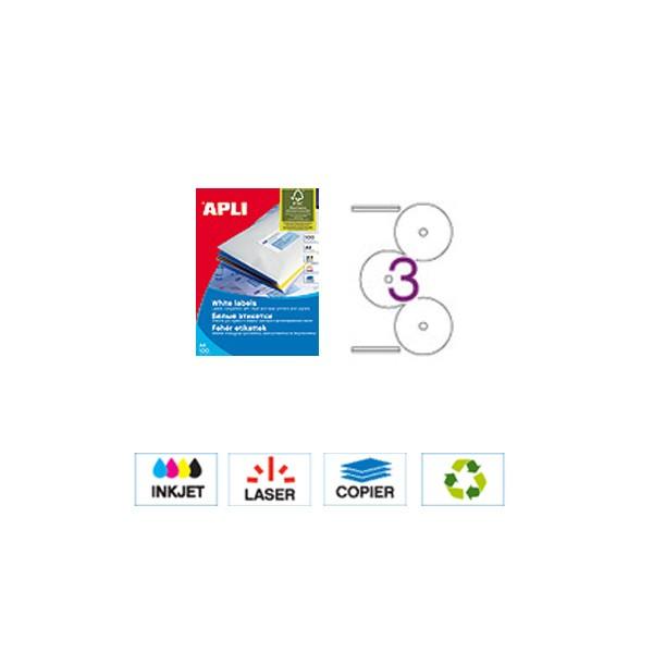 Apli CD-DVD naljepnice ø 114mm , 3 komada, 100listova Bijeli