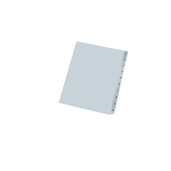 Pregrada plastična A4 brojevi 1-10 NOKI siva