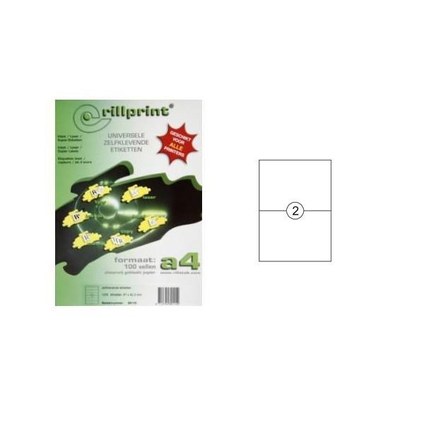 Rillprint naljepnice 210x148 mm, 2 komada, 100listova BIJELI