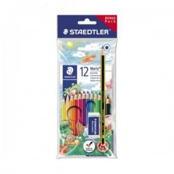 STAEDTLER - Drvene bojice - 12 + olovka i gumica za brisanje