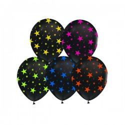 Baloni - Crni s šarenim zvijezdicama