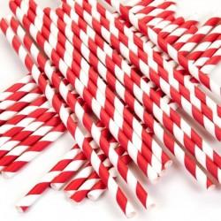 Nidakko - Papirnate slamke - Crvena sa bijelim prugama