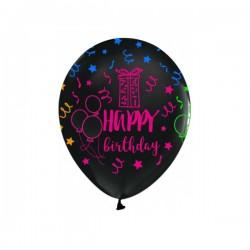 "Baloni - Crni s šarenim natpisom ""Happy Birthday"""