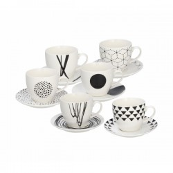Set šalica za kavu s tanjurićima - 6-dj
