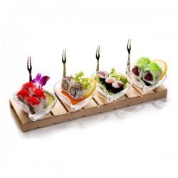 Gustando - Set - Staklene zdjelice / 4 kom + Pladanj