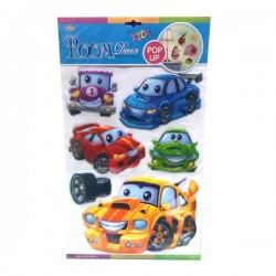 Naljepnice za zid, auti, 3D