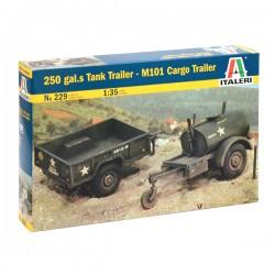 Prikolice 250 gal.s Tank Trailer - M101 Cargo Trailer plastična maketa 1:35