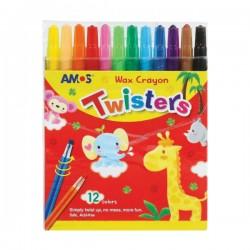 AMOS - Voštane pastele u PVC olovci - 12